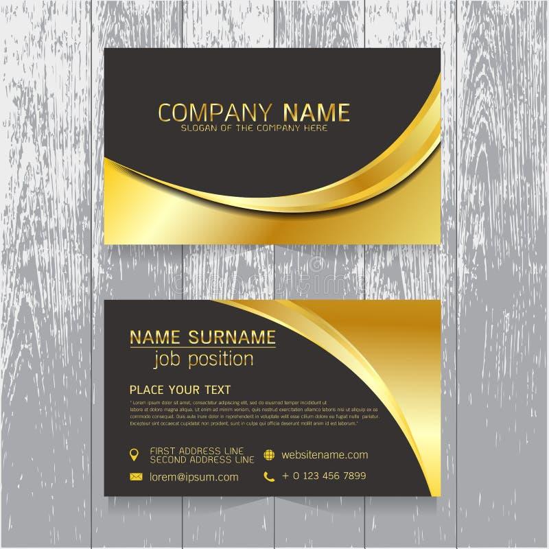 Διανυσματικό δημιουργικό χρυσό και μαύρο σχέδιο επαγγελματικών καρτών φύλλων του κειμένου διανυσματική απεικόνιση
