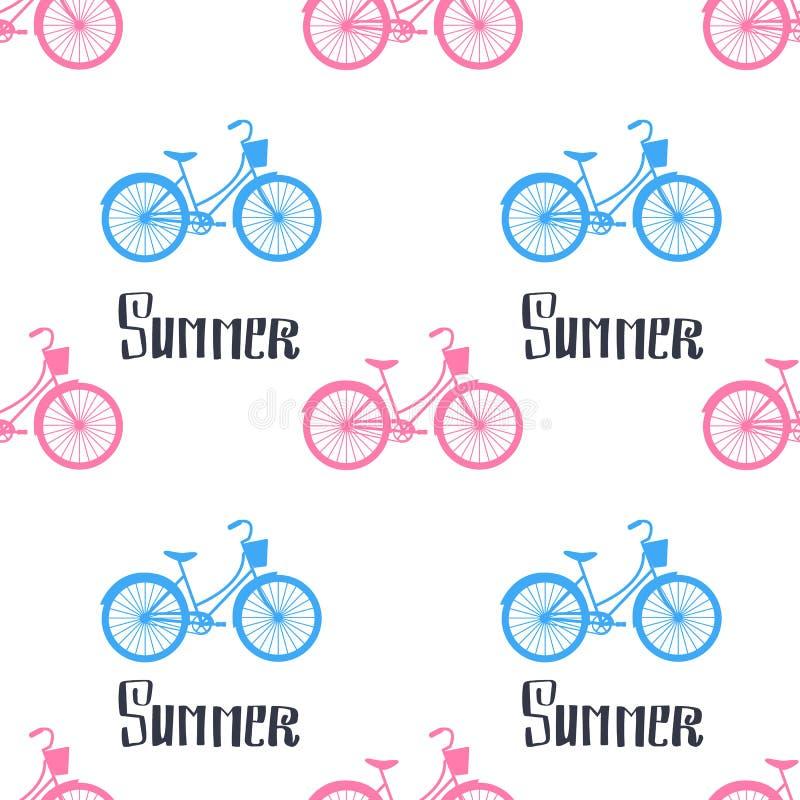 Διανυσματικό θερινό άνευ ραφής σχέδιο Ποδήλατα και καλοκαίρι εγγραφής χεριών διανυσματική απεικόνιση