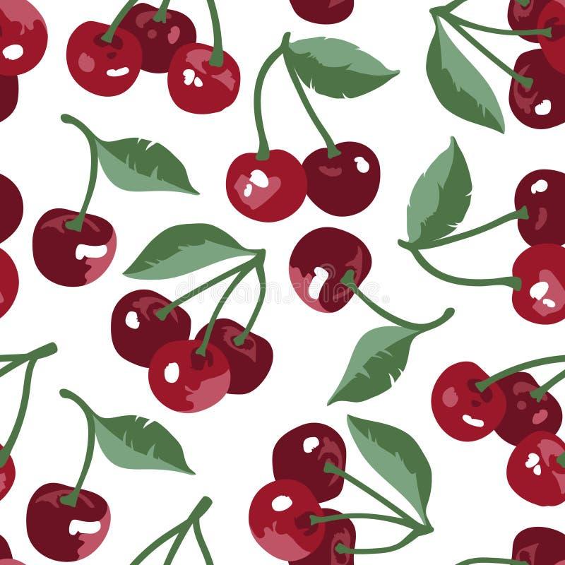 Διανυσματικό θερινό σχέδιο με τα γλυκά κεράσια, τα λουλούδια και τα φύλλα Άνευ ραφής σχέδιο σύστασης ελεύθερη απεικόνιση δικαιώματος