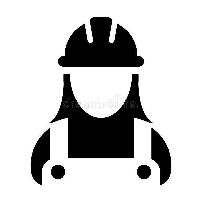 Διανυσματικό θηλυκό είδωλο σχεδιαγράμματος προσώπων εργατών οικοδομών εικονιδίων υπαλλήλων με hardhat το κράνος και σακάκι στο ει ελεύθερη απεικόνιση δικαιώματος