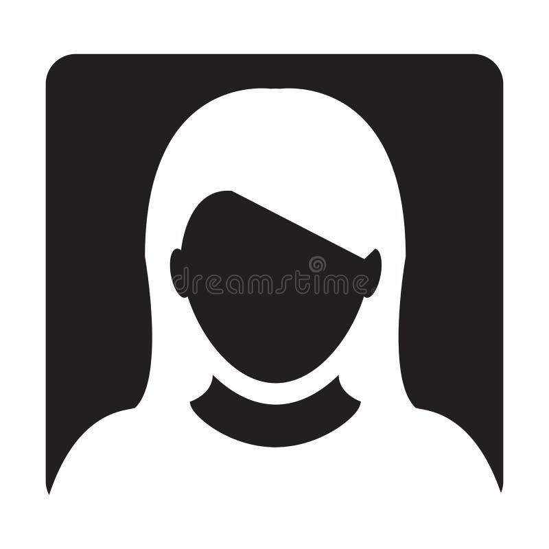 Διανυσματικό θηλυκό σημάδι εικονογραμμάτων Glyph συμβόλων ειδώλων σχεδιαγράμματος προσώπων εικονιδίων χρηστών απεικόνιση αποθεμάτων