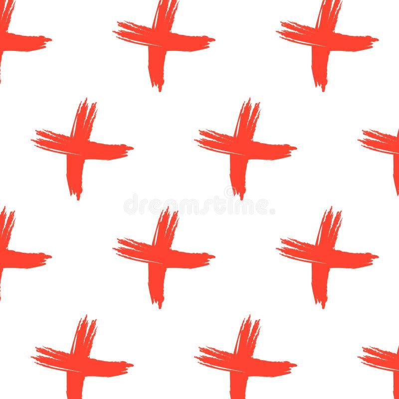 Διανυσματικό διαγώνιο σχέδιο σημαδιών Αφηρημένο υπόβαθρο με τα κόκκινα κτυπήματα βουρτσών Συρμένη χέρι τυπωμένη ύλη hipster Χ στο διανυσματική απεικόνιση
