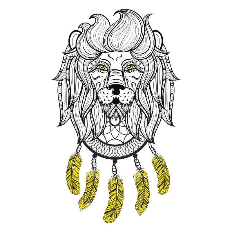 Διανυσματικό διακοσμητικό λιοντάρι με το dreamcatcher, εθνικό διαμορφωμένο κεφάλι απεικόνιση αποθεμάτων