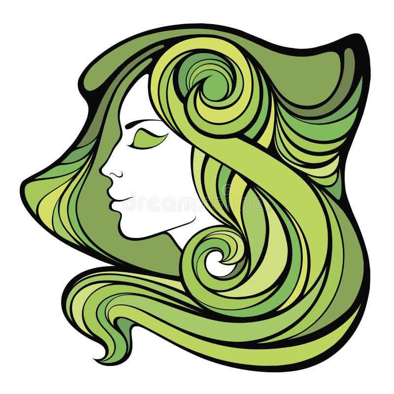 Διανυσματικό διακοσμητικό πορτρέτο άνοιξη του κοριτσιού σαμάνων με πράσινο μακρύ ελεύθερη απεικόνιση δικαιώματος