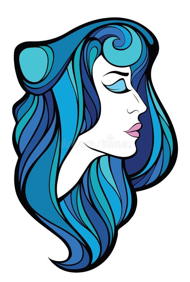 Διανυσματικό διακοσμητικό πορτρέτο της γυναίκας ομορφιάς με μπλε μακρυμάλλη απεικόνιση αποθεμάτων
