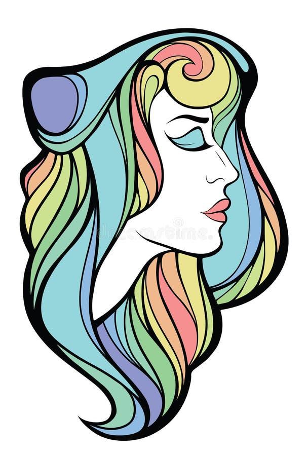 Διανυσματικό διακοσμητικό πορτρέτο της γυναίκας ομορφιάς με το μακρυμάλλες isolat απεικόνιση αποθεμάτων