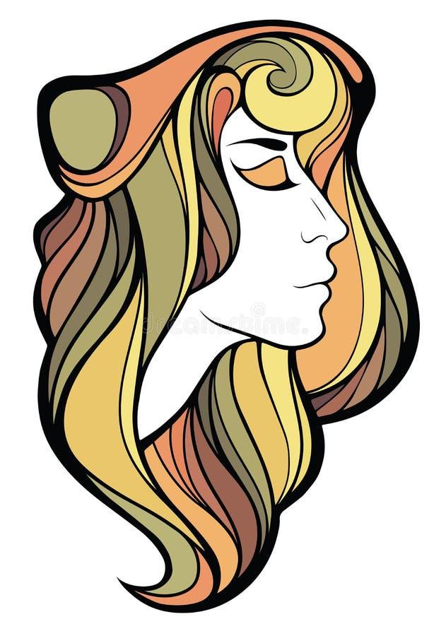 Διανυσματικό διακοσμητικό πορτρέτο του κοριτσιού σαμάνων με το χρώμα μακρυμάλλες ι διανυσματική απεικόνιση