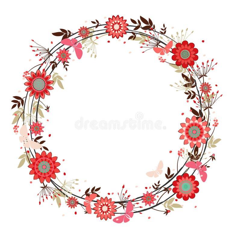 Διανυσματικό διακοσμητικό στεφάνι λουλουδιών απεικόνιση αποθεμάτων