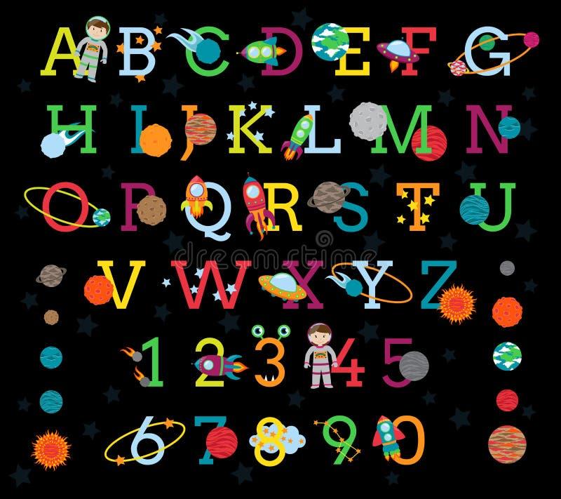 Διανυσματικό διαστημικό αλφάβητο και με τους 8 πλανήτες και τον ήλιο απεικόνιση αποθεμάτων