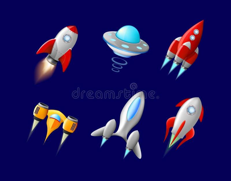 Διανυσματικό διαστημόπλοιο και διάνυσμα UFO που τίθεται στο ύφος κινούμενων σχεδίων Πύραυλος και διαστημικό σκάφος, φουτουριστική ελεύθερη απεικόνιση δικαιώματος