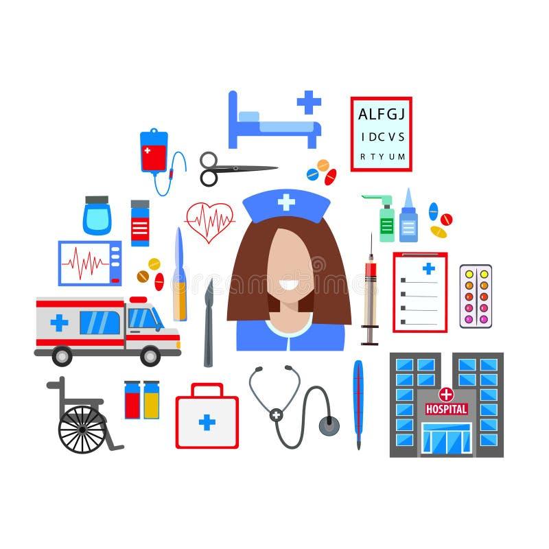 Διανυσματικό ιατρικό σύνολο με τη νοσοκόμα Απεικόνιση του επίπεδου σχεδίου απεικόνιση αποθεμάτων