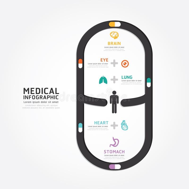 Διανυσματικό ιατρικό ύφος γραμμών διαγραμμάτων σχεδίου καψών Infographics απεικόνιση αποθεμάτων