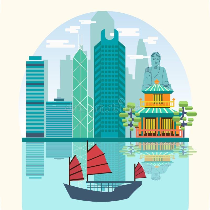 Διανυσματικό λιμάνι οριζόντων ταξιδιού με τα παλιοπράγματα τουριστών ελεύθερη απεικόνιση δικαιώματος