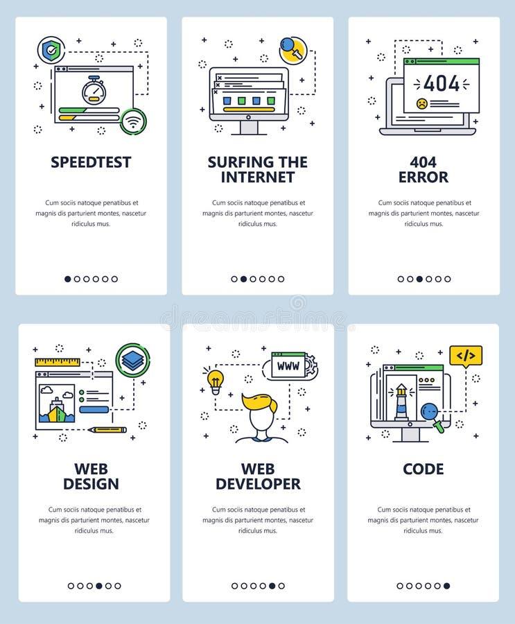 Διανυσματικό ιστοχώρου γραμμικό πρότυπο οθονών τέχνης onboarding Κώδικας και ανάπτυξη ιστοχώρων Διαδικτύου Εμβλήματα επιλογών για ελεύθερη απεικόνιση δικαιώματος
