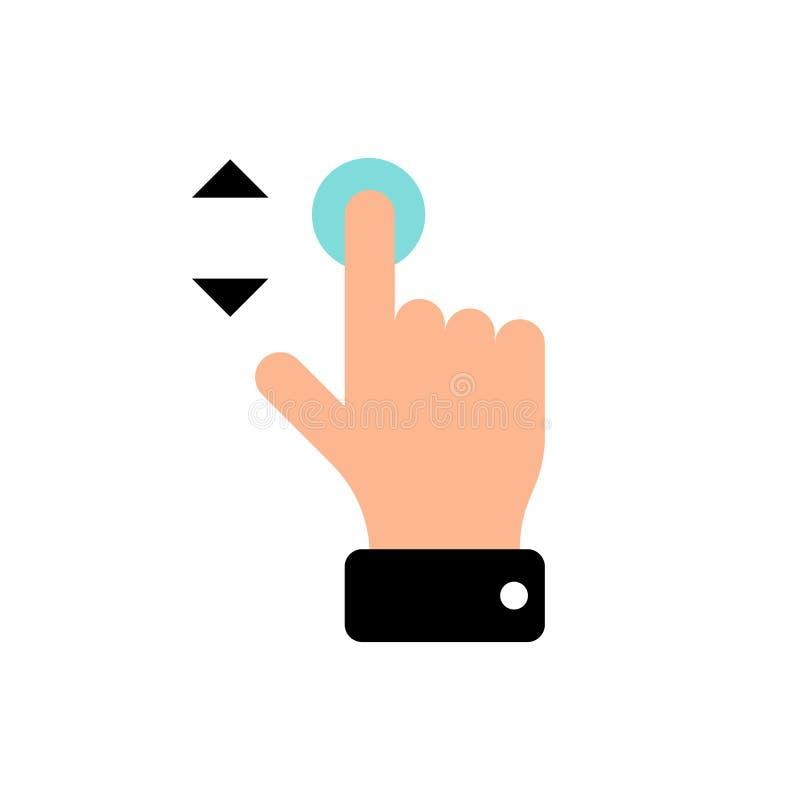 Διανυσματικό ισχυρό κτύπημα χειρονομίας οθόνης αφής πάνω-κάτω το εικονίδιο Τύπου δάχτυλων χεριών E απεικόνιση αποθεμάτων