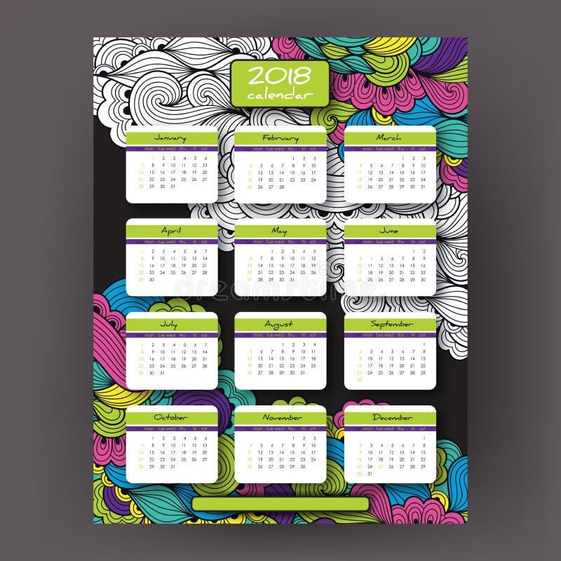 διανυσματικό κάθετο ημερολόγιο έτους του 2018 διανυσματική απεικόνιση