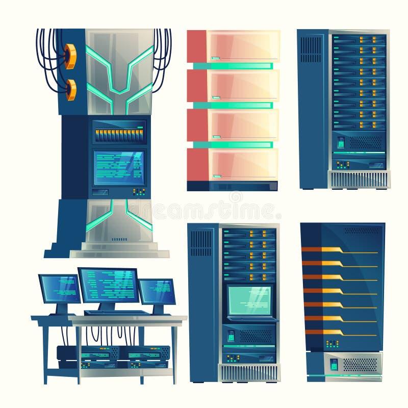 Διανυσματικό κέντρο κεντρικών υπολογιστών, θάλαμος ελέγχου, αποθήκευση στοιχείων απεικόνιση αποθεμάτων