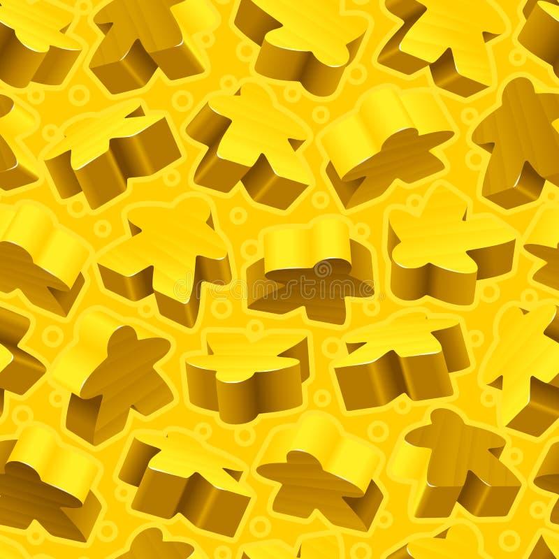 Διανυσματικό κίτρινο άνευ ραφής σχέδιο meeples ελεύθερη απεικόνιση δικαιώματος