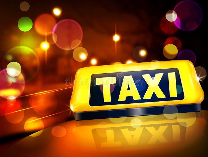 Διανυσματικό κίτρινο σημάδι ταξί στο αυτοκίνητο ενάντια στα φω'τα του nig διανυσματική απεικόνιση