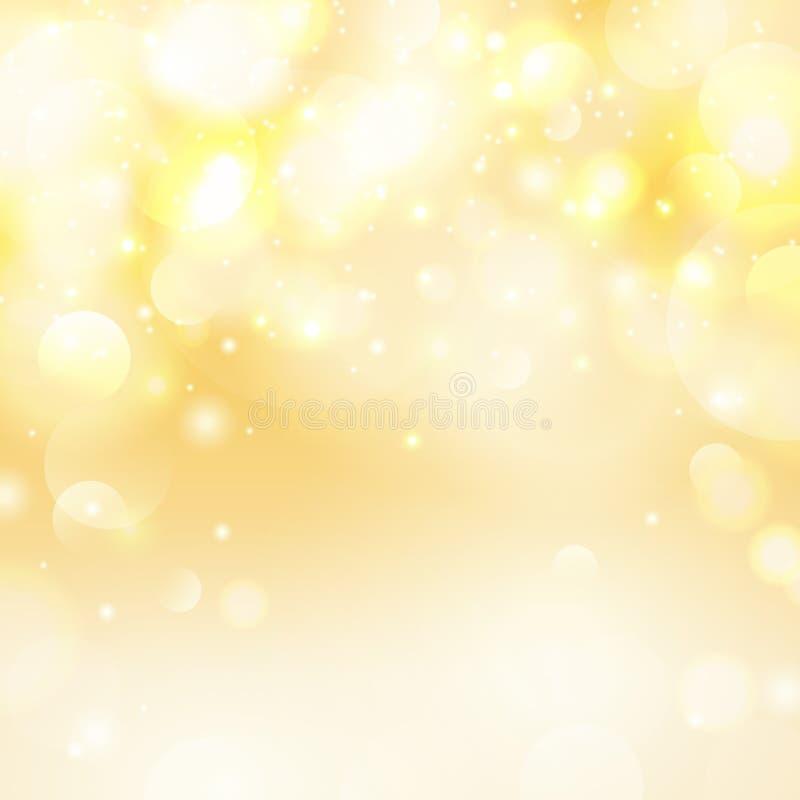 Διανυσματικό κίτρινο υπόβαθρο bokeh Καθολικός εορταστικός τα άσπρα φω'τα Θολωμένη περίληψη απεικόνιση στοκ εικόνα