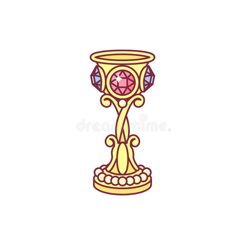 Διανυσματικό κίτρινο χρυσό goblet, κάλυκας απεικόνιση αποθεμάτων