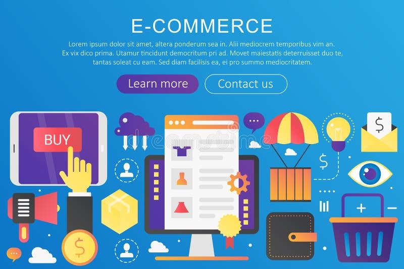Διανυσματικό καθιερώνον τη μόδα επίπεδο ηλεκτρονικό εμπόριο χρώματος κλίσης, on-line να ψωνίσει και λιανικό, ηλεκτρονικό έμβλημα  ελεύθερη απεικόνιση δικαιώματος