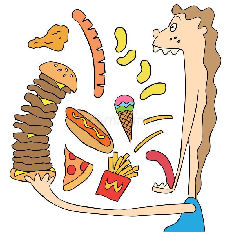 Διανυσματικό καθορισμένο άχρηστο φαγητό διανυσματική απεικόνιση