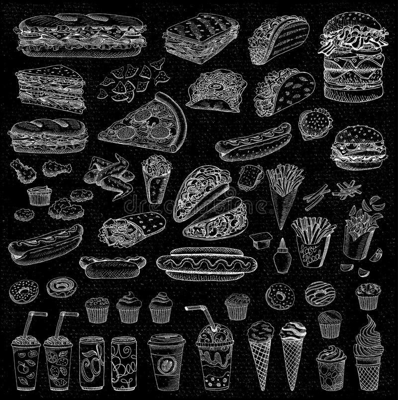 Διανυσματικό καθορισμένο γρήγορο φαγητό ελεύθερη απεικόνιση δικαιώματος