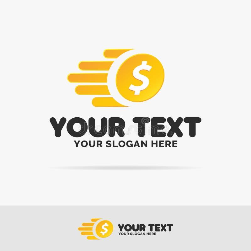 Διανυσματικό καθορισμένο ζωηρόχρωμο ύφος λογότυπων χρημάτων πετάγματος με το νόμισμα για την τράπεζα απεικόνιση αποθεμάτων