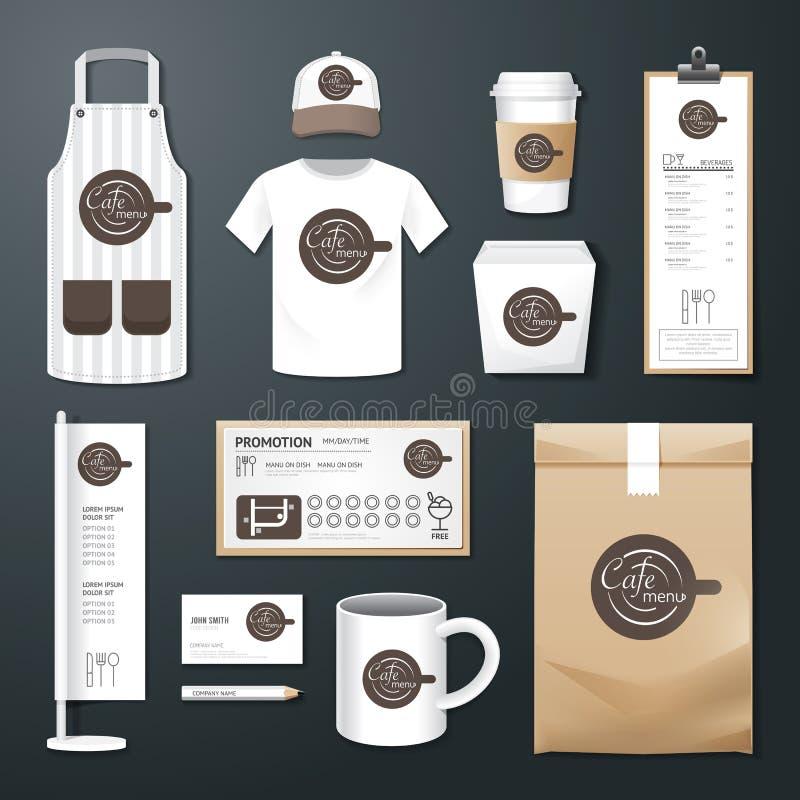 Διανυσματικό καθορισμένο ιπτάμενο καφέδων εστιατορίων, επιλογές, συσκευασία, μπλούζα, ΚΑΠ, ομοιόμορφο σχέδιο ελεύθερη απεικόνιση δικαιώματος