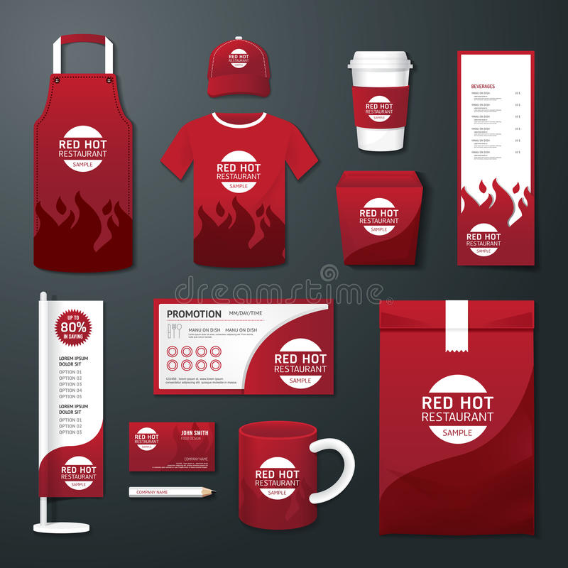 Διανυσματικό καθορισμένο ιπτάμενο καφέδων εστιατορίων, επιλογές, συσκευασία, μπλούζα, ΚΑΠ, ομοιόμορφο σχέδιο απεικόνιση αποθεμάτων