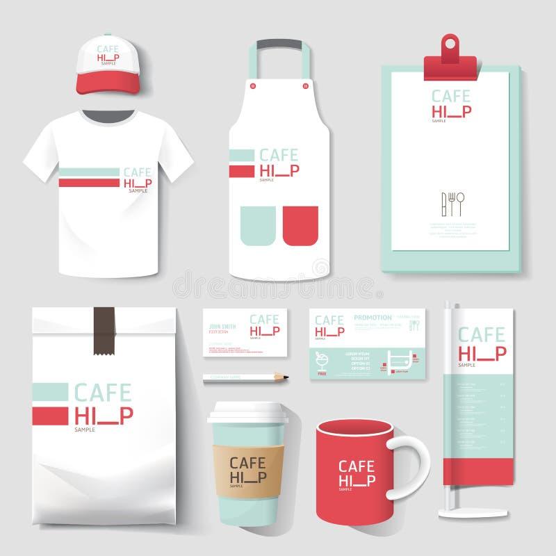 Διανυσματικό καθορισμένο ιπτάμενο καφέδων εστιατορίων, επιλογές, συσκευασία, μπλούζα, ΚΑΠ, ομοιόμορφο σχέδιο διανυσματική απεικόνιση