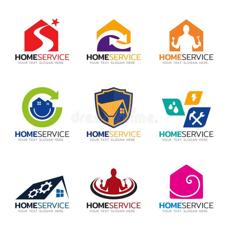 Διανυσματικό καθορισμένο σχέδιο εγχώριων υπηρεσιών και λογότυπων επισκευών απεικόνιση αποθεμάτων