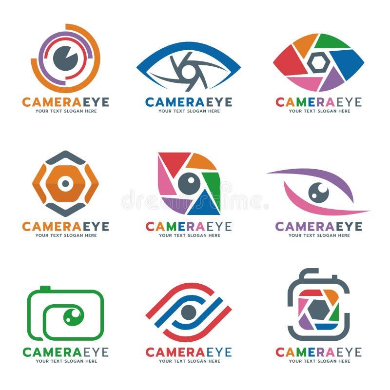 Διανυσματικό καθορισμένο σχέδιο λογότυπων καμερών και ματιών διανυσματική απεικόνιση