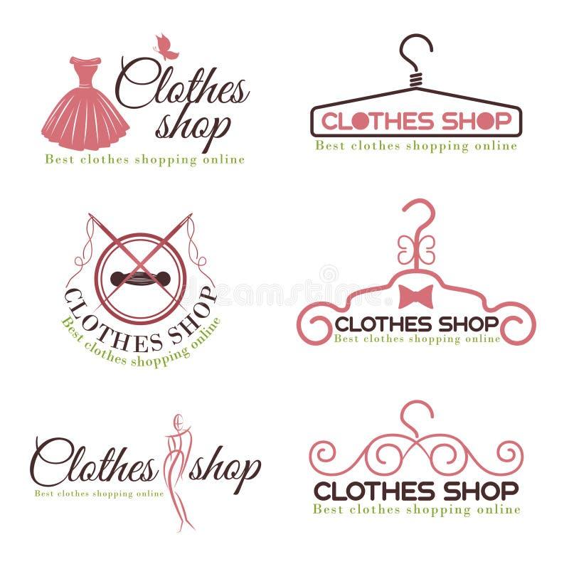Διανυσματικό καθορισμένο σχέδιο λογότυπων μόδας καταστημάτων ενδυμάτων απεικόνιση αποθεμάτων