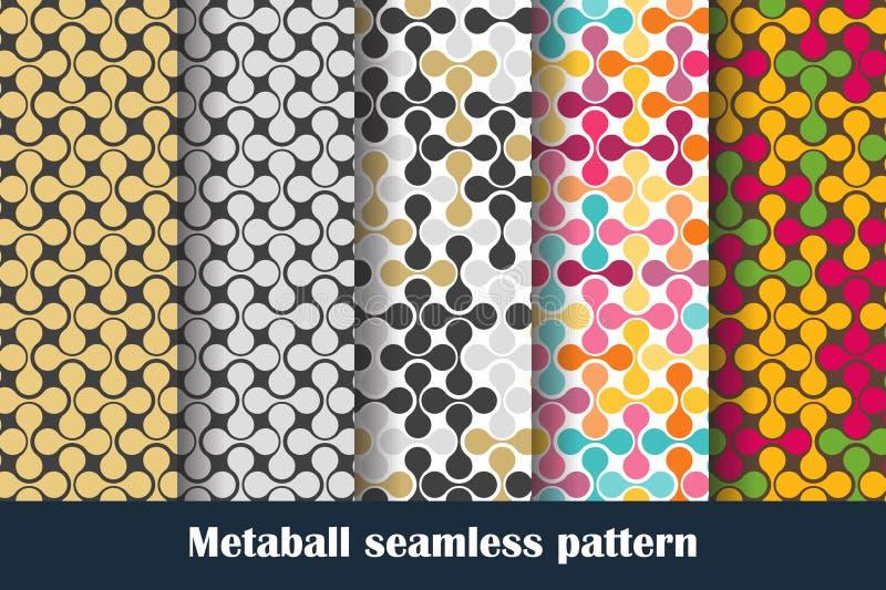 Διανυσματικό καθορισμένο MetaBall χρωμάτισε το άνευ ραφής σχέδιο διανυσματική απεικόνιση