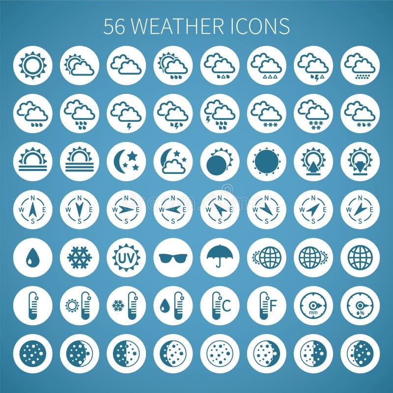 Διανυσματικό καιρικό εικονίδιο που τίθεται για τα widgets και τις περιοχές διανυσματική απεικόνιση