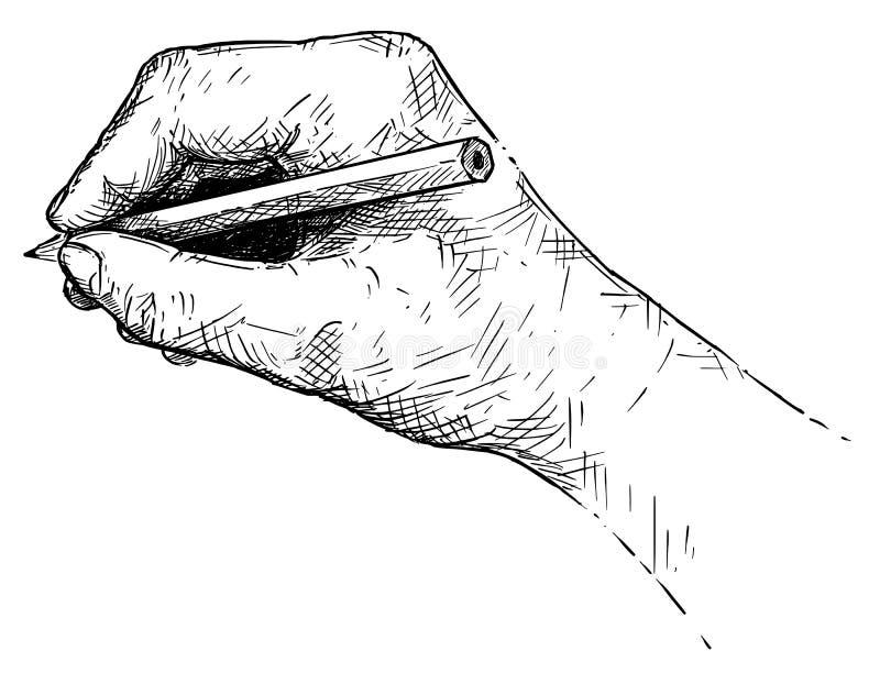 Διανυσματικό καλλιτεχνικό απεικόνιση ή σχέδιο του χεριού που γράφει ή που σκιαγραφεί με το μολύβι ελεύθερη απεικόνιση δικαιώματος