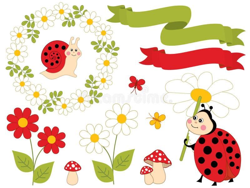 Διανυσματικό καλοκαίρι που τίθεται με τα χαριτωμένα έντομα και τα λουλούδια κινούμενων σχεδίων ελεύθερη απεικόνιση δικαιώματος