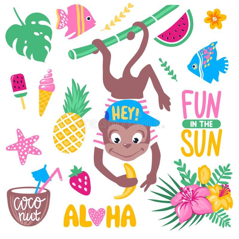 Διανυσματικό καλοκαίρι που τίθεται με τον αστείο πίθηκο, τα τροπικά φύλλα και τα λουλούδια απεικόνιση αποθεμάτων
