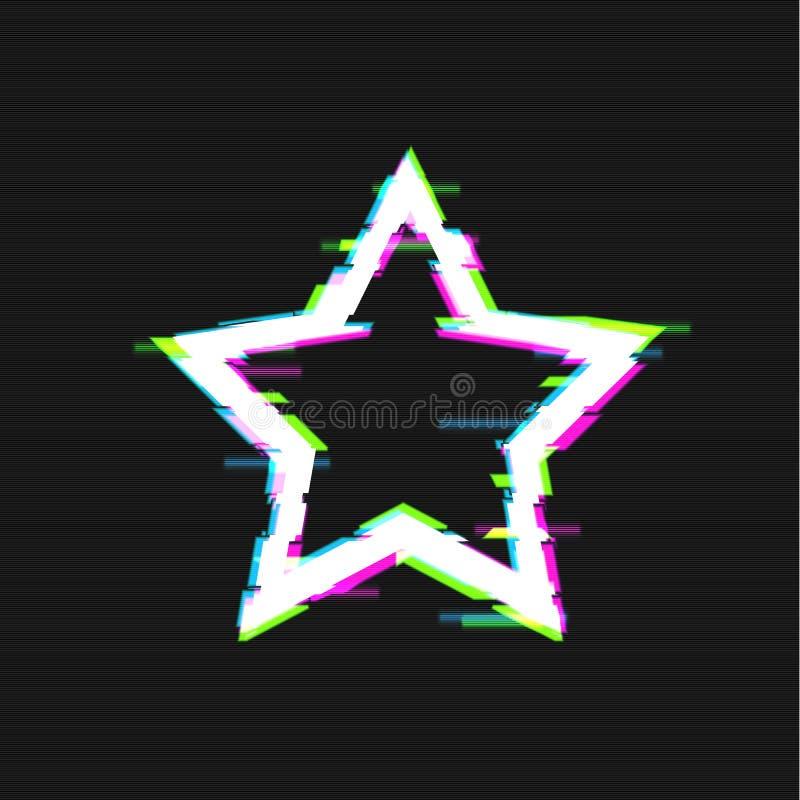 Διανυσματικό καμμένος αστέρι δυσλειτουργίας, διαστρεβλωμένη απεικόνιση, να λάμψει μορφή αστεριών ελεύθερη απεικόνιση δικαιώματος