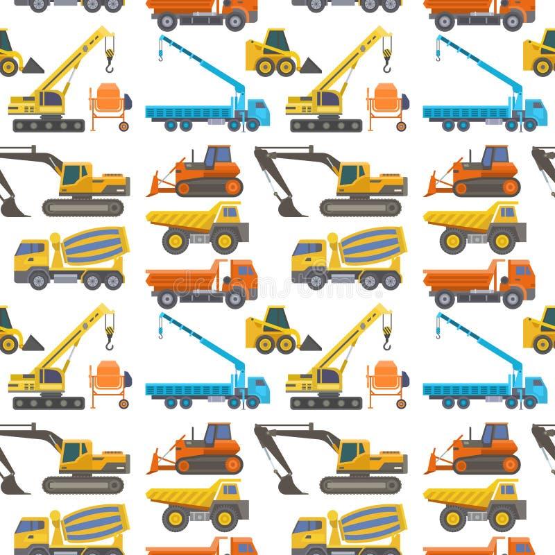 Διανυσματικό κατασκεύασμα οχημάτων μεταφορών φορτηγών παράδοσης κατασκευής και μεγάλη πλατφόρμα εξοπλισμού μηχανών οδικής μεταφορ απεικόνιση αποθεμάτων