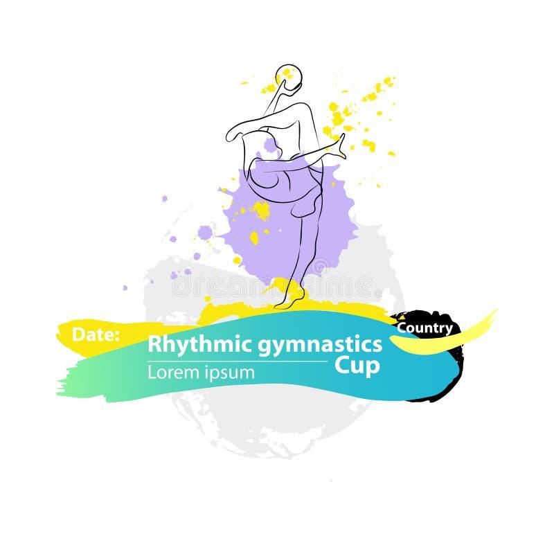Διανυσματικό καλλιτεχνικό ρυθμικό γυμναστικό έμβλημα σκίτσων σφαιρών στοκ εικόνα