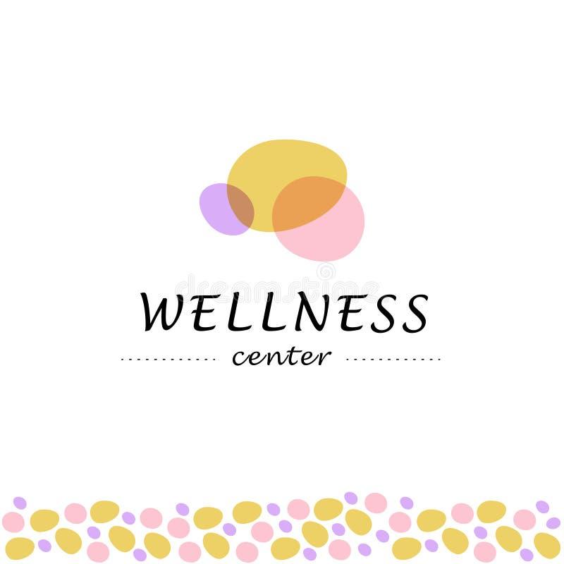 Διανυσματικό κεντρικό λογότυπο wellness με το αφηρημένο τυποποιημένο άνευ ραφής σχέδιο πετρών που απομονώνεται στο άσπρο υπόβαθρο απεικόνιση αποθεμάτων