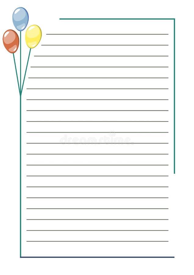 Διανυσματικό κενό για την επιστολή ή τη ευχετήρια κάρτα Μορφή της Λευκής Βίβλου με τα ζωηρόχρωμα μπαλόνια, τις γραμμές και τα σύν διανυσματική απεικόνιση