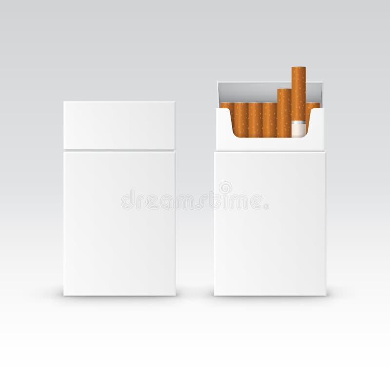 Διανυσματικό κενό κιβώτιο συσκευασίας πακέτων των τσιγάρων απεικόνιση αποθεμάτων
