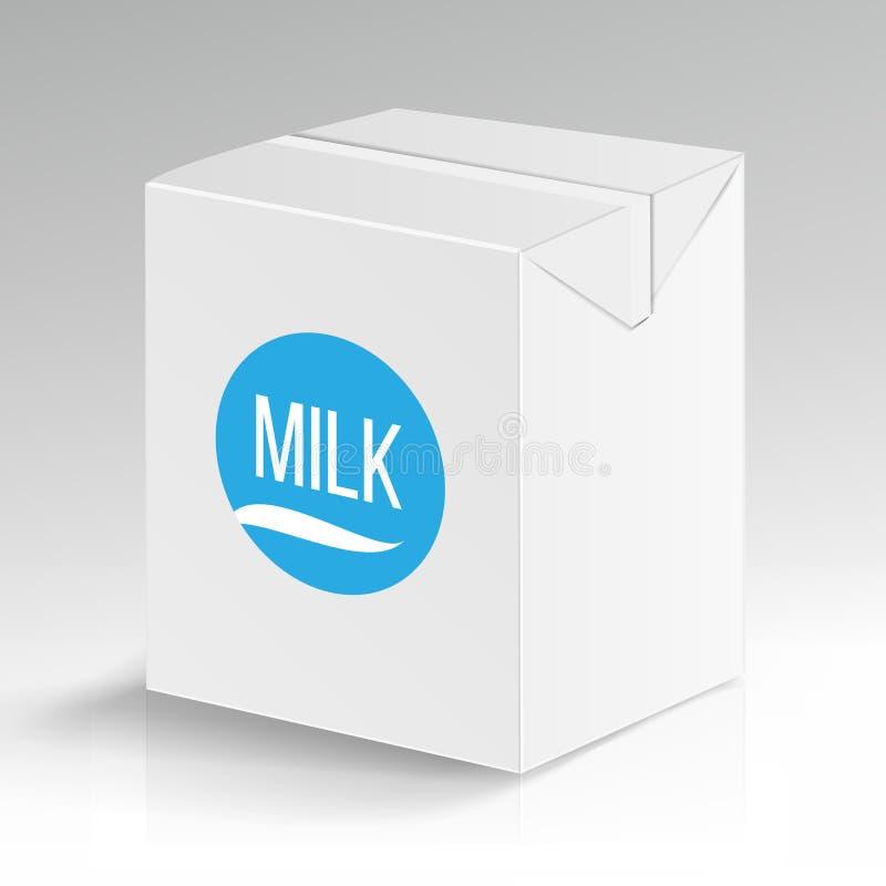 Διανυσματικό κενό συσκευασίας χαρτοκιβωτίων γάλακτος Άσπρο μαρκάροντας κιβώτιο χαρτοκιβωτίων που απομονώνεται Η κενή καθαρή συσκε διανυσματική απεικόνιση
