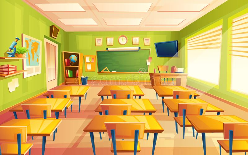 Διανυσματικό κενό σχολείο κινούμενων σχεδίων, τάξη κολλεγίων στοκ φωτογραφίες