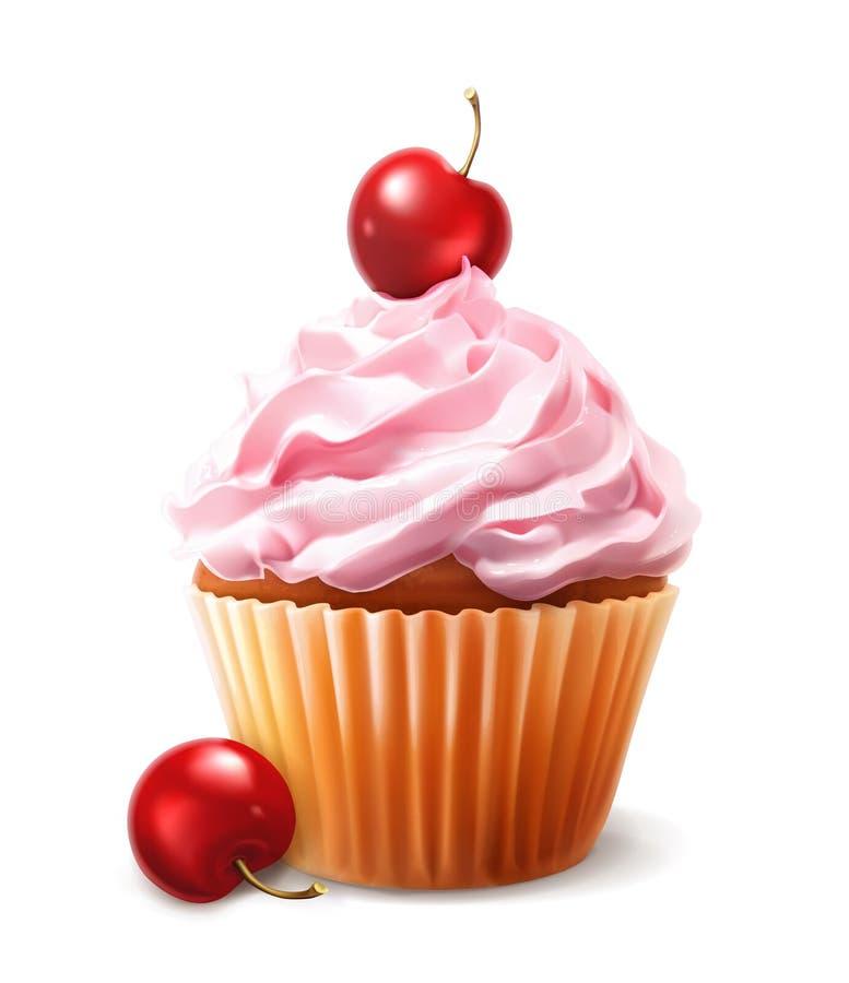 Διανυσματικό κεράσι cupcake ελεύθερη απεικόνιση δικαιώματος