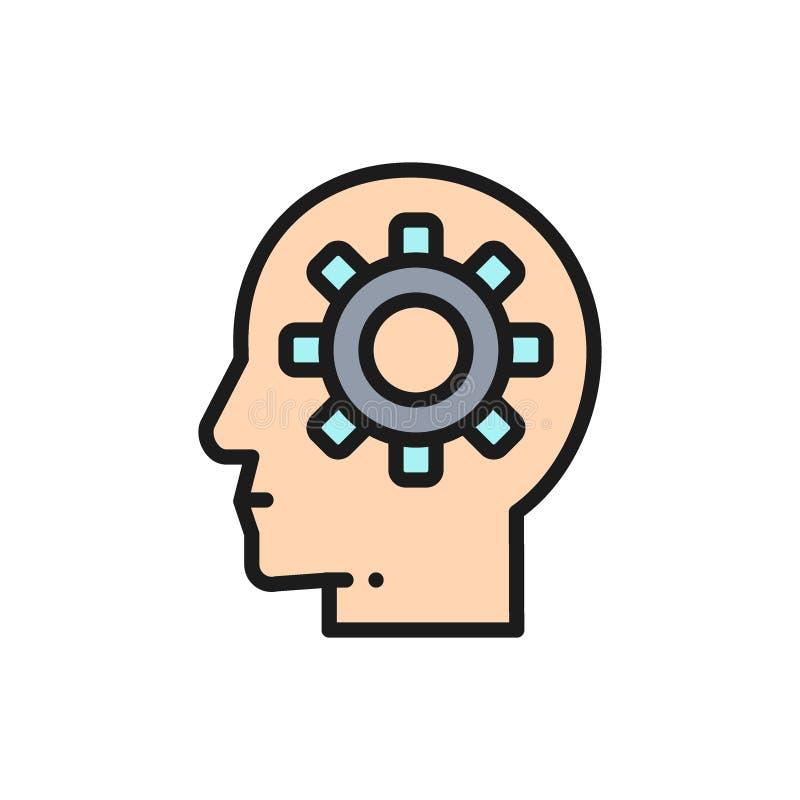 Διανυσματικό κεφάλι με το εργαλείο, διαδικασία εγκεφάλου, γνώση, επίπεδο εικονίδιο γραμμών χρώματος ιδέας διανυσματική απεικόνιση